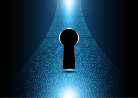 technology digital future abstract, cyber security concept background, keyhole binary, vector illustration. Ilustração