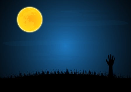 Halloween festival and celebration abstract background, zombie hand emerge from grave soil with grass and moon, vector illustration.
