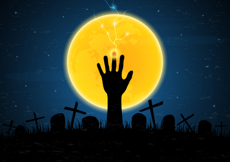 Halloween festival and celebration abstract background, zombie hand emerge from grave soil with cross.