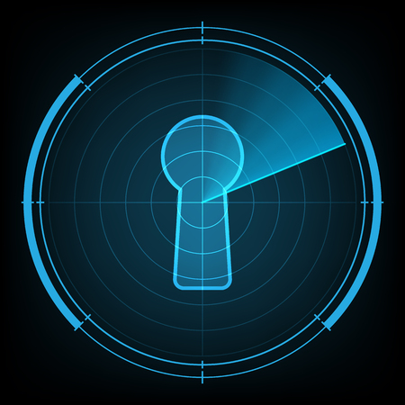 cyber war: technology digital future abstract background, radar screen cyber security keyhole lock, vector illustration. Illustration
