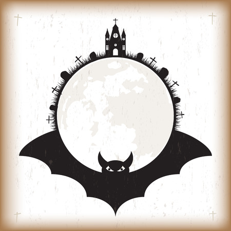 Halloween festival and celebration abstract grunge vintage old paper background, flying bat, church, cross, grave with grass circle of moon and copy space for text, vector illustration.