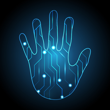 technology digital future abstract, cyber security concept background, hand palm circuit, vector illustration.