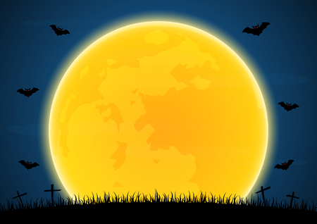 Halloween festival and celebration abstract background, graveyard grass with flying bat and moon, vector illustration.
