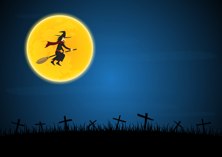halloween background: Halloween festival and celebration abstract background, witch flying on broom with moon and graveyard, vector illustration. Illustration