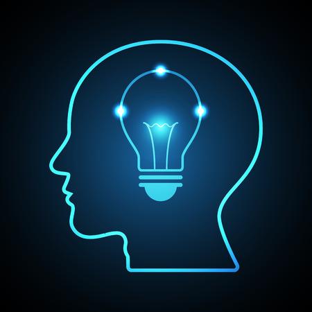 기술 디지털 미래 창조적 인 아이디어 추상적 인 배경을; 밝은 파란색 전구 인간의 머리 측면보기; 벡터 일러스트 레이 션. 일러스트