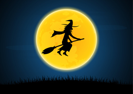 Halloween festival and celebration abstract background, silhouette witch flying on broom with moon and graveyard, vector illustration.