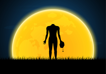 Halloween festival and celebration abstract background, headless zombie hold human head with moon, graveyard and copy space, vector illustration.