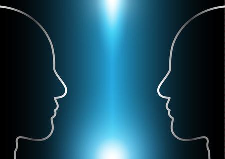 l'estratto futuro digitale della tecnologia, fondo cyber di concetto di sicurezza, incontra la testa umana con lo spazio della copia, illustrazione di vettore. Vettoriali