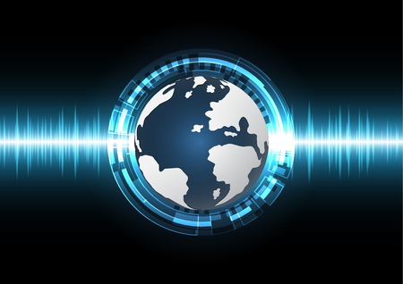 technology cyber abstract world globe circle background with wave signal oscillating light and copy space, vector illustration.