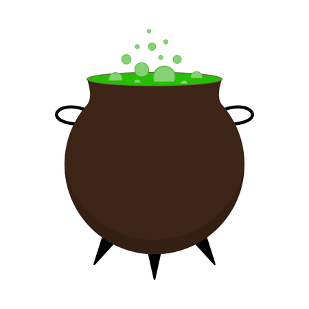 Halloween festival and celebration abstract background, witch cauldron with green potion and copy space, vector illustration.