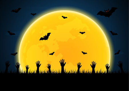 Halloween festival and celebration abstract background, zombie hand on graveyard grass with flying bat, moon and copy space, vector illustration.