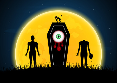 Halloween festival and celebration abstract background, coffin or casket with moon, graveyard, zombie, blood eyeball, cat and copy space, vector illustration.
