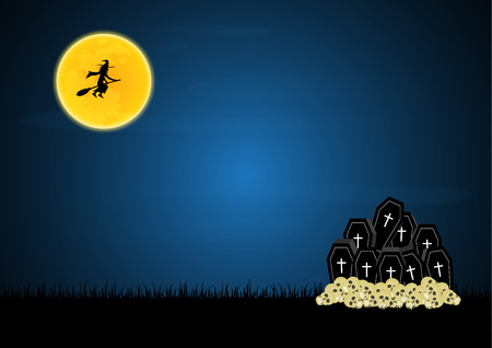 Halloween festival and celebration abstract background, coffin or casket with graveyard, skull, moon, flying witch and copy space, vector illustration. Illustration