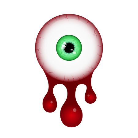 Halloween festival and celebration abstract background, blood eyeball with copy space, vector illustration.