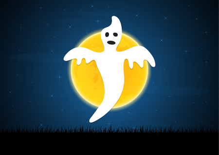 Halloween festival and celebration abstract background, white ghost evil with moon, graveyard and copy space, vector illustration.