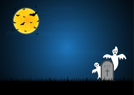 Halloween festival and celebration abstract background, white ghost evil with gravestone or tombstone or headstone, moon, bat, graveyard and copy space, vector illustration.