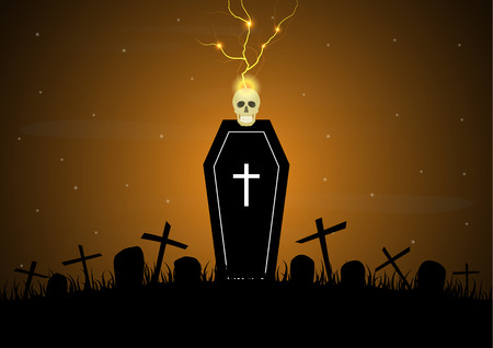 Halloween festival and celebration abstract background, coffin or casket with graveyard, skull, thunderbolt or lightning, cross, gravestone or tombstone and copy space, vector illustration.