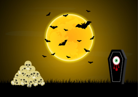 Halloween festival and celebration abstract background, gravestone or tombstone or headstone with blood eyeball, graveyard, skull, moon, flying bat and copy space, vector illustration.