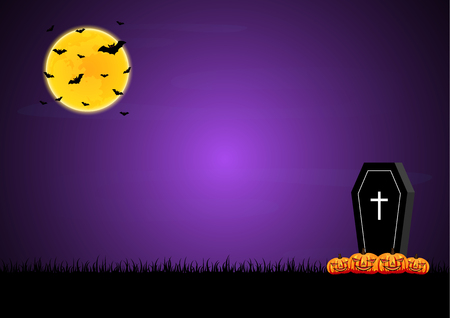 Halloween festival and celebration abstract background, coffin or casket with graveyard, pumpkin, moon, bat and copy space, vector illustration.