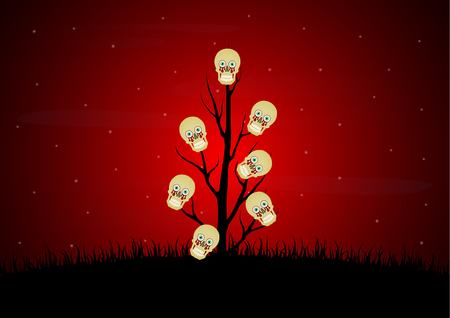 Halloween festival and celebration abstract background, blood eyeball skull with dead dry tree, graveyard and copy space, vector illustration.