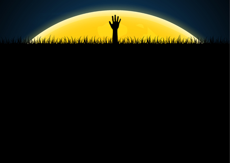 Halloween festival and celebration abstract background, zombie hand on graveyard grass and moon with copy space, vector illustration.