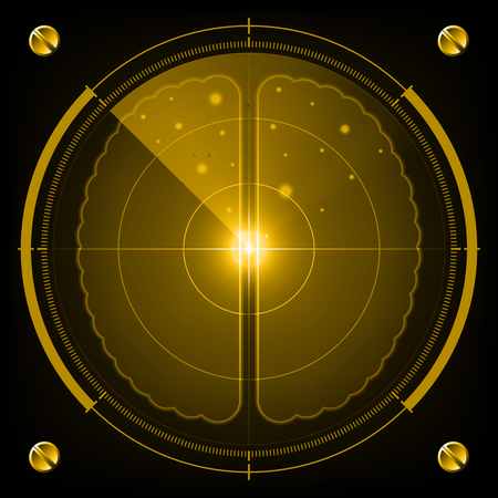 Technology digital future abstract background, radar screen human brain, vector illustration. Illustration