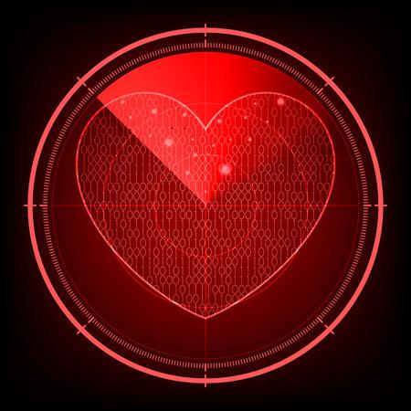 레이더 화면 사랑의 마음 일러스트