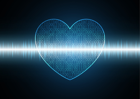 Binary love heart with wave signal oscillating light