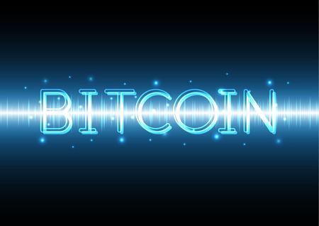 bitcoin with wave signal oscillating light and copy space, money and finance, vector illustration Banco de Imagens - 95231766