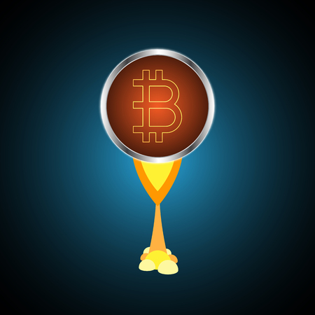 Cryptocurrency bitcoin rush flying in the sky vector illustration Ilustração