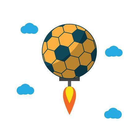 soccer ball rush fly sport flat design icon vector illustration. Ilustração