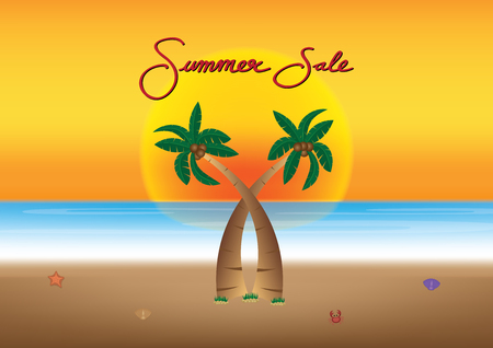 Summer sale promotion season with coconut tree, sunset and sea beach background vector illustration.