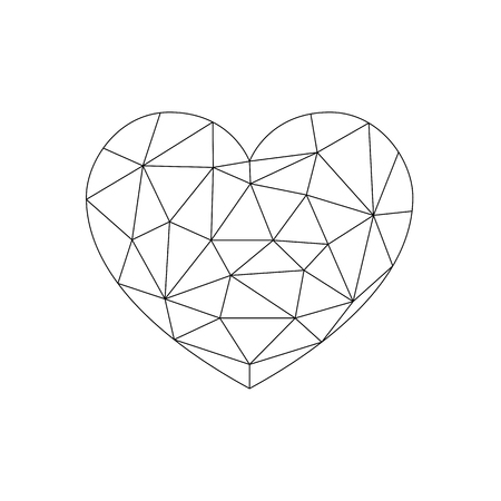 Heart love polygon geometric thin line flat design icon vector illustration. Editable Stroke