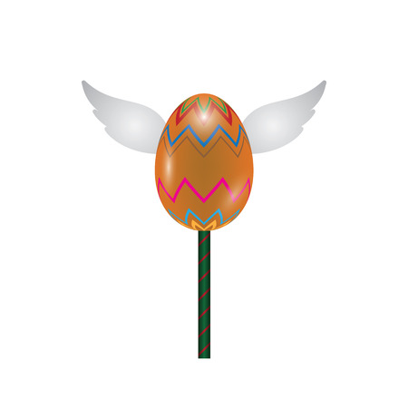 Colored egg with wings lollipop in sweet realistic design vector illustration. Illustration