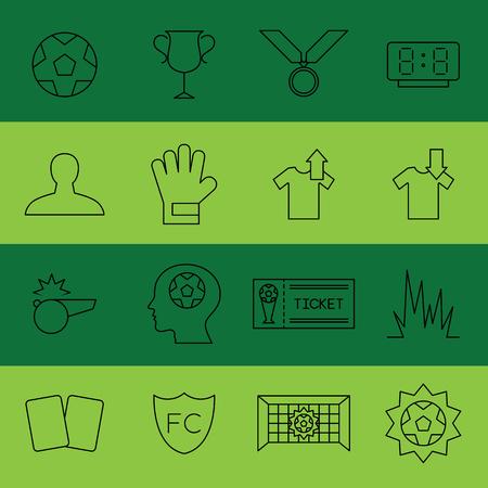 Soccer flat thin line icon vector illustration. Editable stroke Иллюстрация