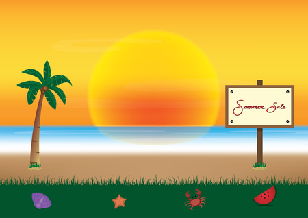 A summer sale promotion season with board and sea beach background vector illustration