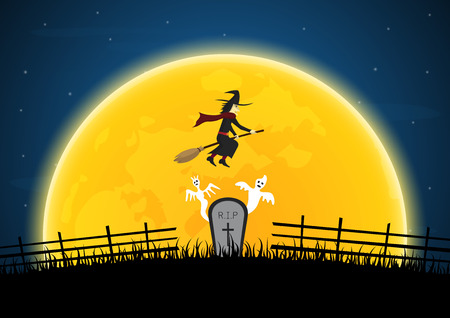 Halloween witch moon vector 일러스트