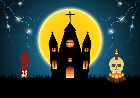 Halloween castle hand skull moon thunderbolt vector Illustration
