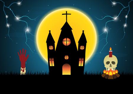 Halloween castle hand skull moon thunderbolt vector Illustration