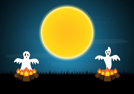 Halloween ghost bonfire moon vector