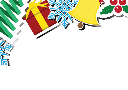Christmas snowflake, ribbon tree, gift, bell, mistletoe with copy space background vector illustration