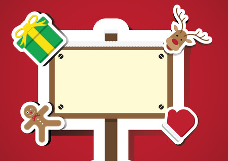 Christmas gingerbread cookie, gift, reindeer, glove, sign board with copy space background vector illustration