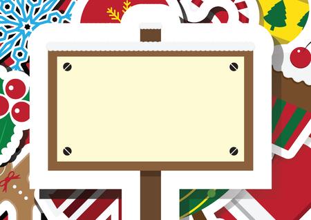 Christmas snowflake, ball, santa claus, gingerbread cookie, cake, glove, cane, mistletoe, jacket, sign board with copy space background vector illustration Illusztráció