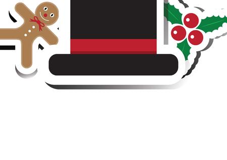 Christmas gingerbread cookie, hat, mistletoe with copy space background vector illustration Illusztráció