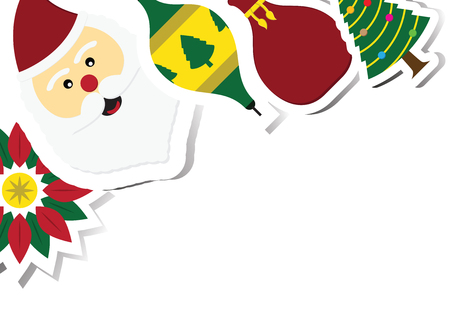 Christmas wreath, santa claus, ball, bag, tree with copy space background vector illustration