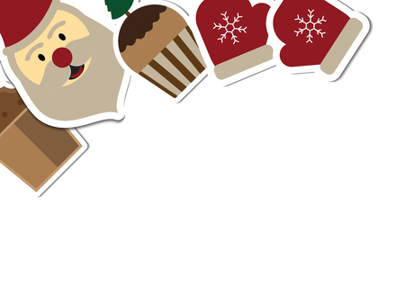 Christmas objects with copy space background vector illustration Illusztráció