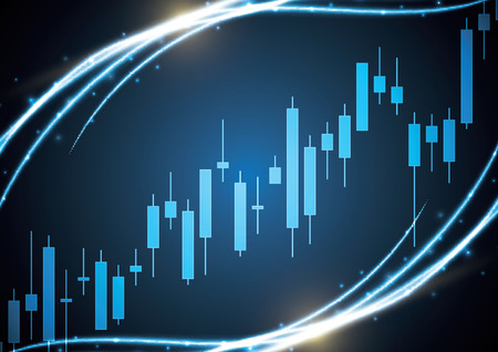 Financial business stock market candle stick graph investment trading background; Bullish point; vector illustration. Иллюстрация