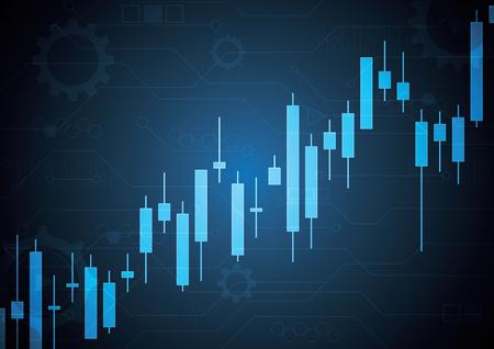 Financial business stock market candle stick graph investment trading background; Bullish point; vector illustration. Illusztráció