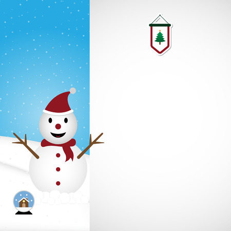 Christmas snowman wearing red hat and scarf on snow hill with white copy space and pine tree flag on top background vector illustration Illusztráció