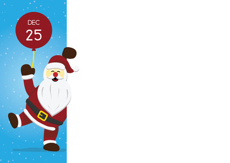 Christmas santa claus standing holding red balloon with white copy space background vector illustration